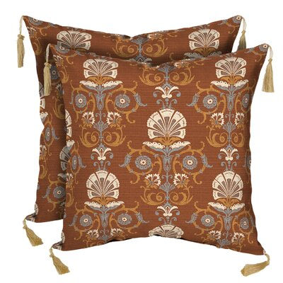 Anatolia Rust Outdoor Throw Pillow with Tassels