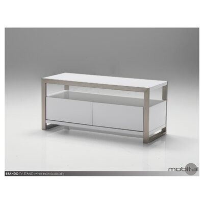 Brando TV Stand Size: 18 H x 39 W x 16 D, Color: White