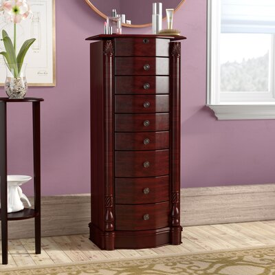 Zakhar Free Standing Jewelry Armoire with Mirror Color: Cherry