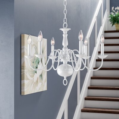 Allensby 6-Light Metal Candle-Style Chandelier Finish: White