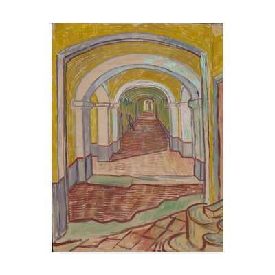 'Corridor in the Asylum Paper' by Vincent Van Gogh Oil Painting Print on Wrapped Canvas BL02030-C1419GG