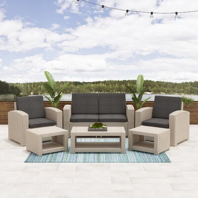 Image of Guimond Patio 6 Piece Sofa Set with Cushions Frame Finish: Beige