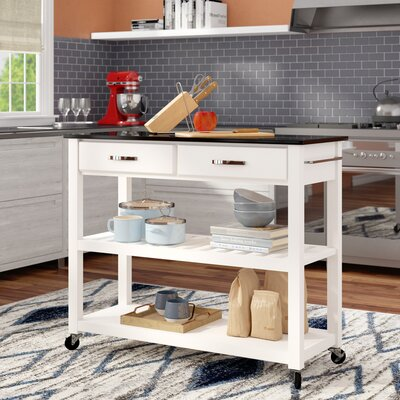 Saterfiel Kitchen Island with Granite Top Frame Finish: White