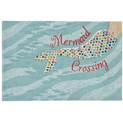 Tarmons Mermaid Crossing Aqua Indoor/Outdoor Area Rug Rug Size: Rectangle 26 x 4