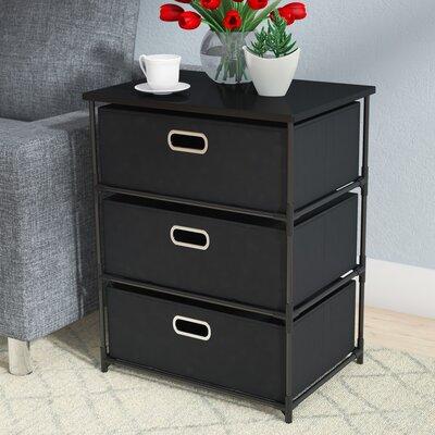Bohnsack 3 Drawer Storage End Table Color: Black