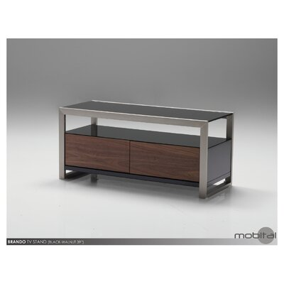 Brando TV Stand Size: 18 H x 39 W x 16 D, Color: Walnut and Black