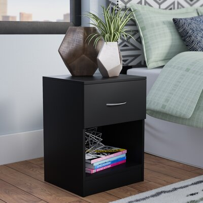 Remillard Standard 1 Dwawer Nightstand Color: Black