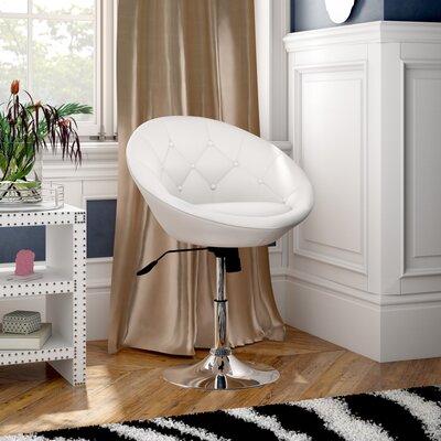 Sarthak Contemporary Tufted Back Tilt Swivel Barrel Chair Upholstery: White