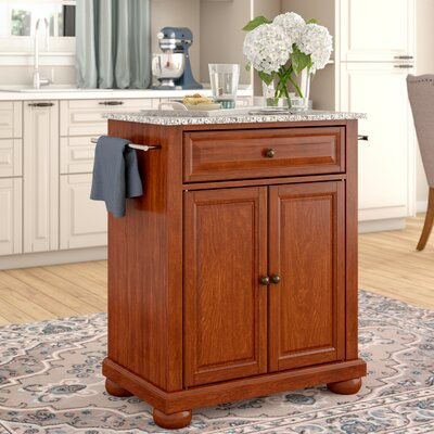 Pottstown Kitchen Cart with Granite Top Base Finish: Classic Cherry