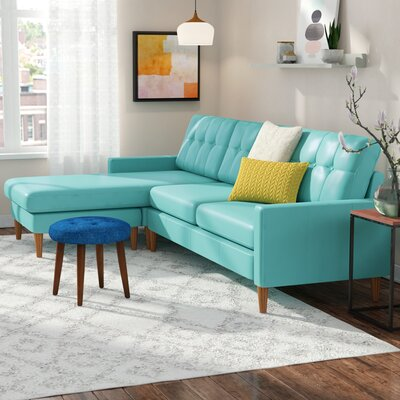 Malaysia Leather Reversible Sectional Upholstery: Teal