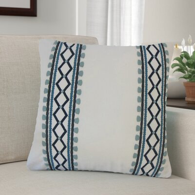 Barkbridge Geometric Cotton Throw Pillow Color: Blue