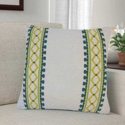 Barkbridge Geometric Cotton Throw Pillow Color: Green