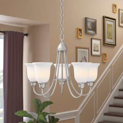 Feder 5-Light Shaded Chandelier Finish: Satin Nickel