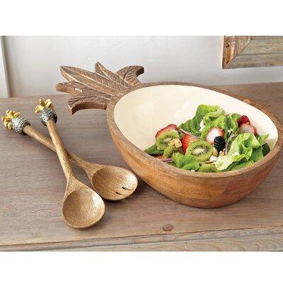 Pineapple Wood and Enamel Salad Serving Bowl 4605034