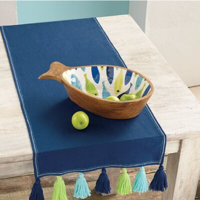Watercolor Fish Wood and Enamel Serving Bowl 4605033