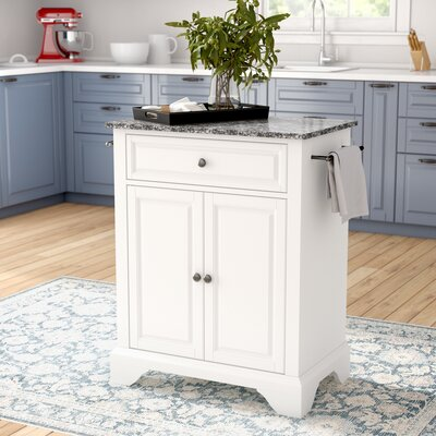 Abbate Kitchen Cart with Granite Top Base Finish: White