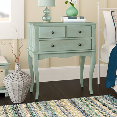 Garrett 3 Drawer Nightstand Color: Antique Teal