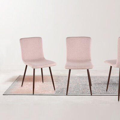 Amir Upholstered Dining Chair Upholstery Color: Pink, Leg Color: Walnut