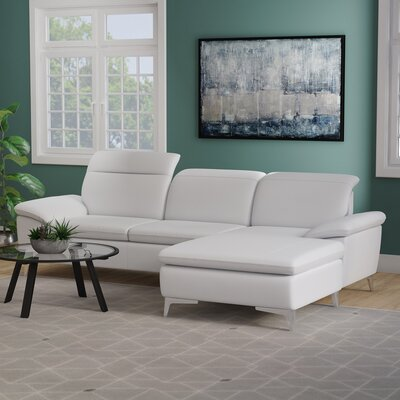 Cleona Sectional Upholstery: White, Orientation: Right Hand Facing