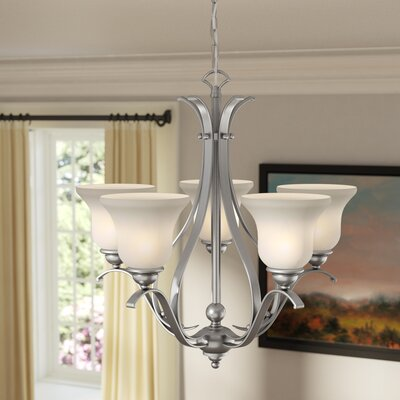 Enfield 5-Light Glass Shaded Chandelier Finish: Brushed Nickel