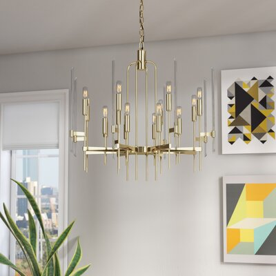Kieran 16-Light Candle-Style Chandelier Finish: Aged Brass