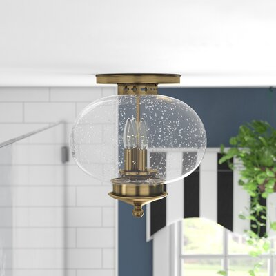 Shielo 3-Light Semi Flush Mount Finish: Antique Brass, Size: 11.5 H x 11 Dia.