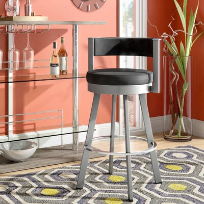 Matthews 30.13 Swivel Bar Stool Base Finish: Glossy Gray, Upholstery: Matte Charcoal Black