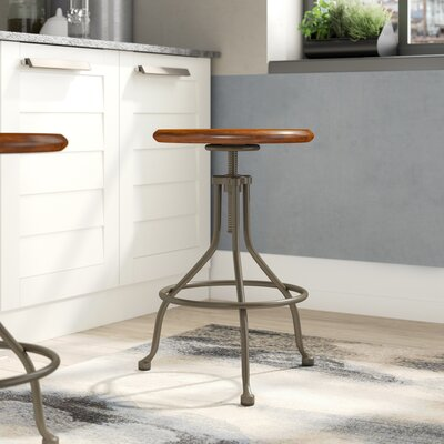 Berger Round Adjustable Height Swivel Bar Stool