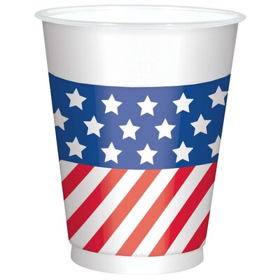 Patriotic American Flag Printed 16 oz. Plastic Everyday Cup 420110