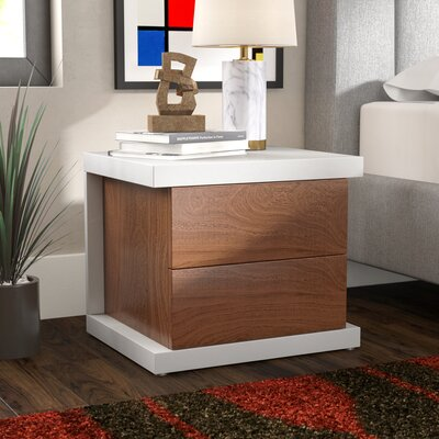 Oden 2 Drawer Nightstand Color: Alabaster/Hazelnut