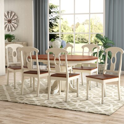 Aimee 7 Piece Dining Set Color: Buttermilk and Cherry