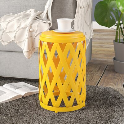 Ramiro Outdoor Iron End Table Color: Yellow