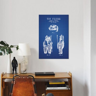 "'Joseph Johnston Ewok Action Figure Patent Sketch' Graphic Art Print on Canvas in Blue Grid Size: 12"" H x 8"" W x 0.75"" D EA89A1357F0A4ACF90691095A42ABC78"