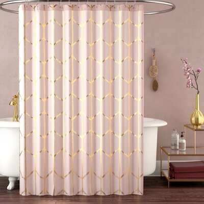Mangesh Printed Metallic Shower Curtain Color: Blush