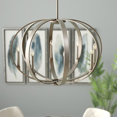 Zachary 8-Light Candle-Style Chandelier Finish: Classic Pewter