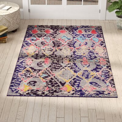 Delane Navy Blue Area Rug Rug Size: Rectangle 2 2 x 6 7