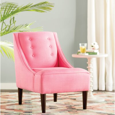 Taos Button Swoop Slipper Chair Upholstery: Linen Coral
