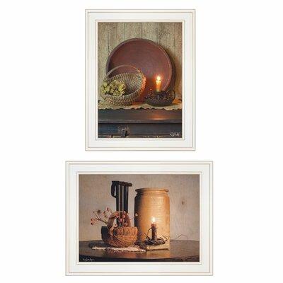 'Red Bowl / Bittersweet Basket' 2 Piece Framed Acrylic Painting Print Set Format: White Framed FAF155C79AF14D908735B6DF5D77B45C