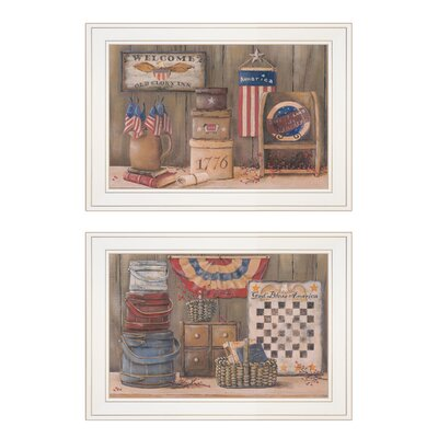 "'God Bless / Sweet Land' 2 Piece Framed Acrylic Painting Print Set Size: 15"" H x 19"" W x 1"" W, Format: White Framed 63CA162196154F91A2A2CBDED10F370E"