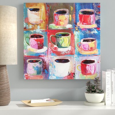 Abstract Art 'Cups II' Acrylic Painting Print on Canvas 66D9BF918FF54F159EACBB493478022A