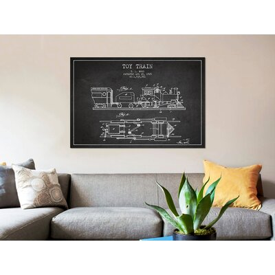 "'T.L. Wood Toy Train Patent Sketch' Graphic Art Print on Canvas Size: 8"" H x 12"" W x 0.75"" D 296E267C2F904ADB8913E77264BAB414"