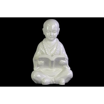 Gaston Buddhist Acolyte Figurine Studying a Reading Figurine Finish: White 136E9678ADD0489184AAB3118FBA6B4D