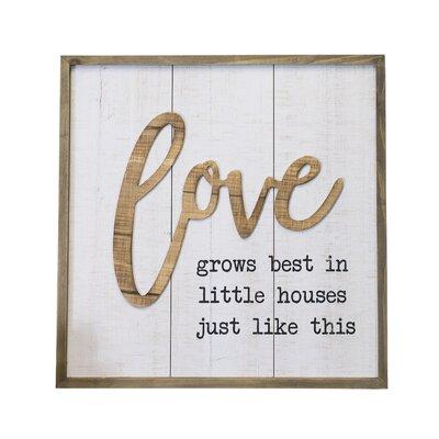 'Modern Farmhouse Love Sign' Framed Textual Art on Wood 7EC7B03DD18644FB9450BD0331A1E122