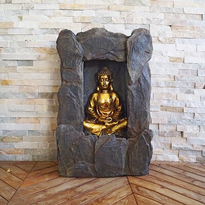 Polystone Buddha Water Fountain with Light BD2231