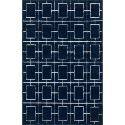 Glam Navy Blue Area Rug Rug Size: Rectangle 4