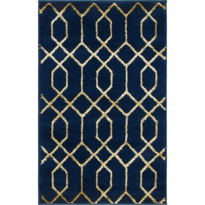 Glam Navy Blue Area Rug Rug Size: Rectangle 2