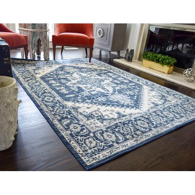 Park Vintage Classic Navy Blue/ivory Indoor/outdoor Area Rug Rug Size: Rectangle 2