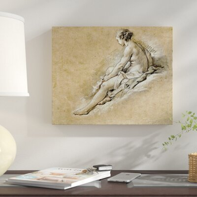 'A Nude Girl Seated' Graphic Art Print on Canvas D8AF7677EE1B4E8C984FFB517C939A8F