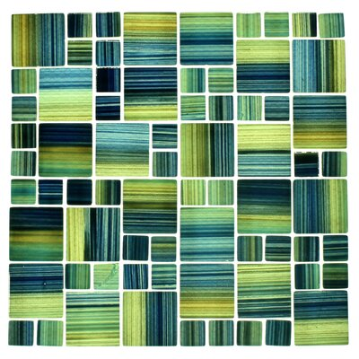 Swimming Pool Series Random Sized Glass Mosaic Tile in Blue/Green WST-X01