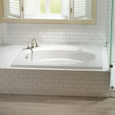 "Signature® 72"" x 42"" Drop In Bathtub Finish: White, Drain Location: Left, Additional Features: Whirlpool Bathtub"